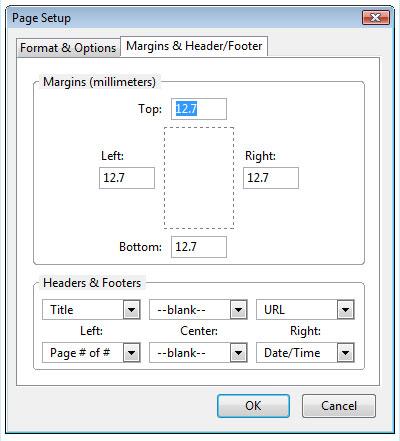 Firefox page setup