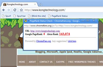 Google Chrome PageRank