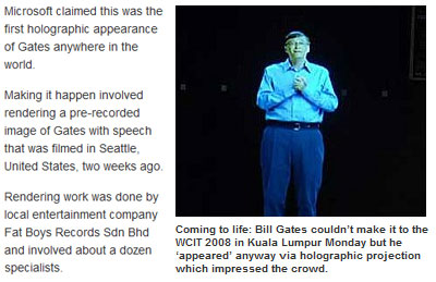 Holographic Bill Gates