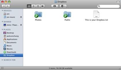 Desktop interface Dropbox