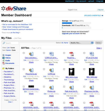 divshare dashboard